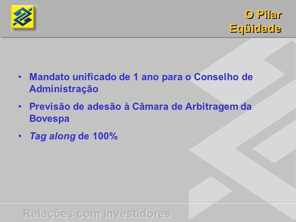 O Pilar Eqüidade. Mandato unificado de 1 ano para o Conselho de Administração. Previsão de adesão à Câmara de Arbitragem da Bovespa.