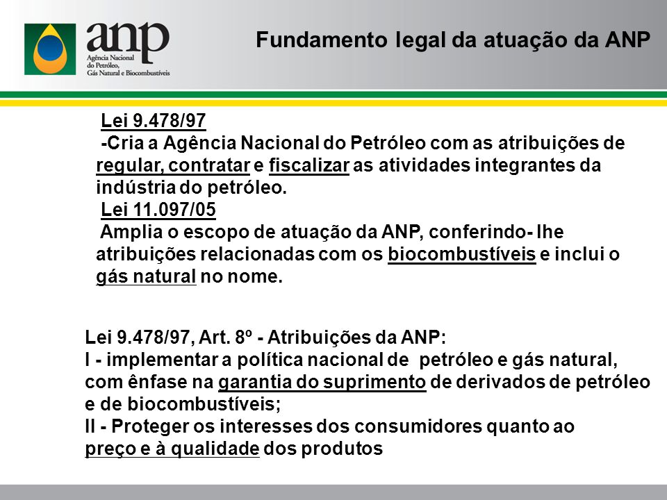 Fundamento legal da atuação da ANP