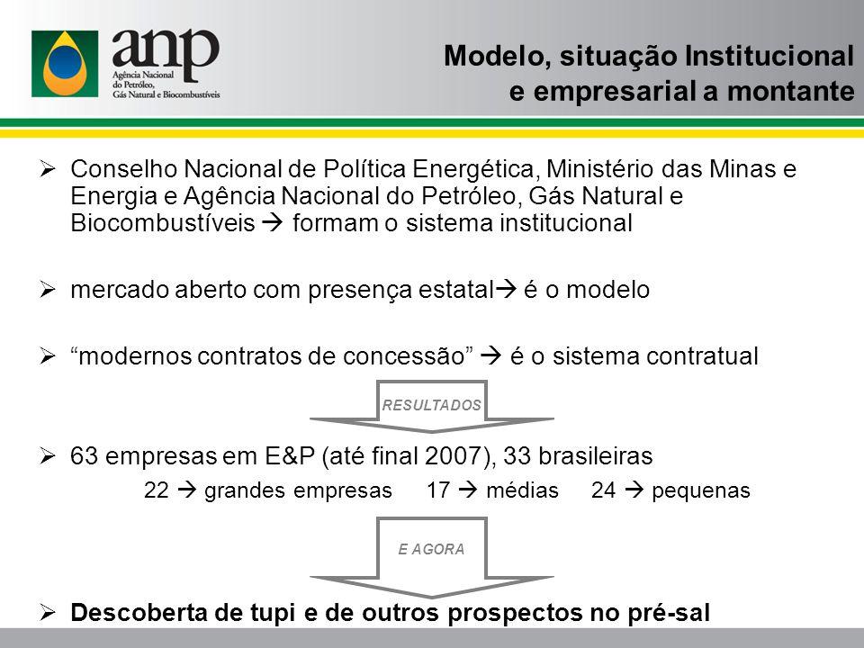 Modelo, situação Institucional e empresarial a montante