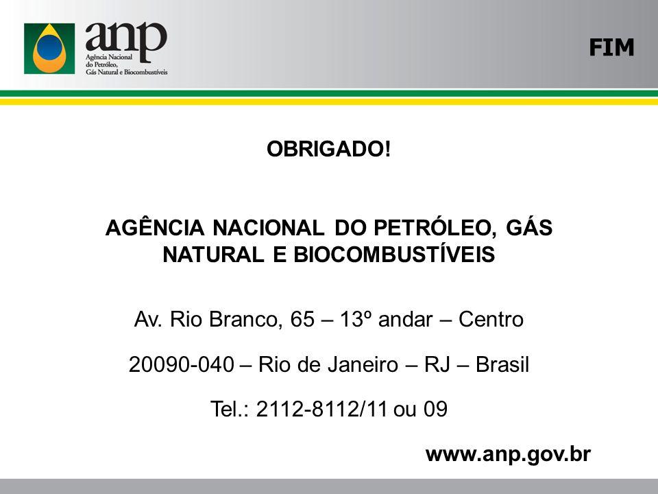 FIM OBRIGADO! AGÊNCIA NACIONAL DO PETRÓLEO, GÁS NATURAL E BIOCOMBUSTÍVEIS. Av. Rio Branco, 65 – 13º andar – Centro.