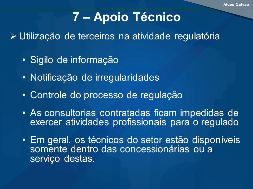 7 – Apoio Técnico Utilização de terceiros na atividade regulatória