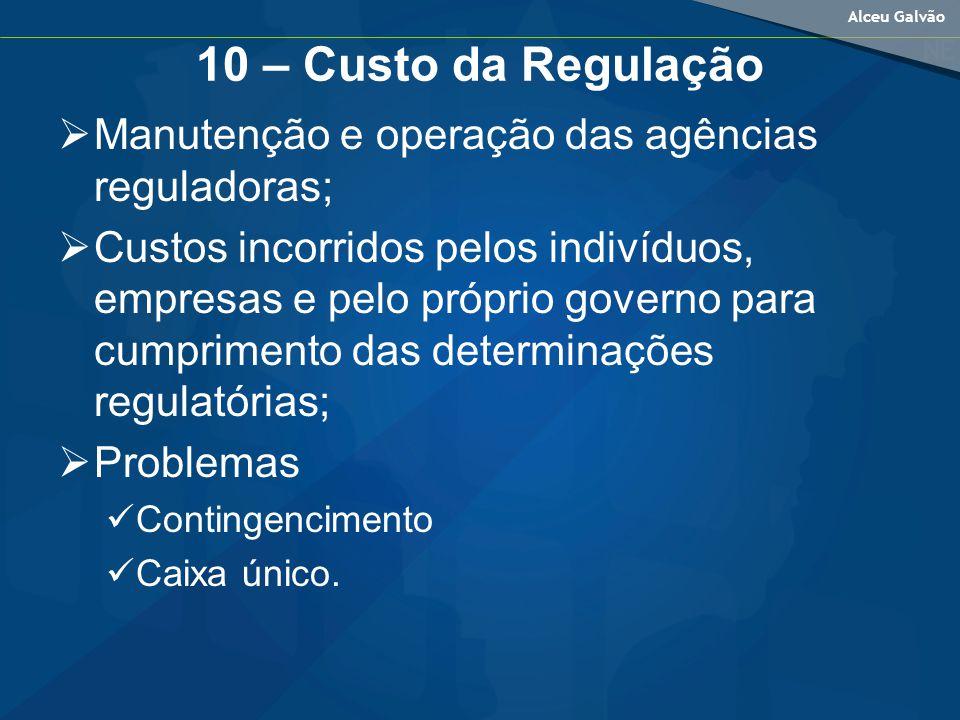 10 – Custo da Regulação Manutenção e operação das agências reguladoras;