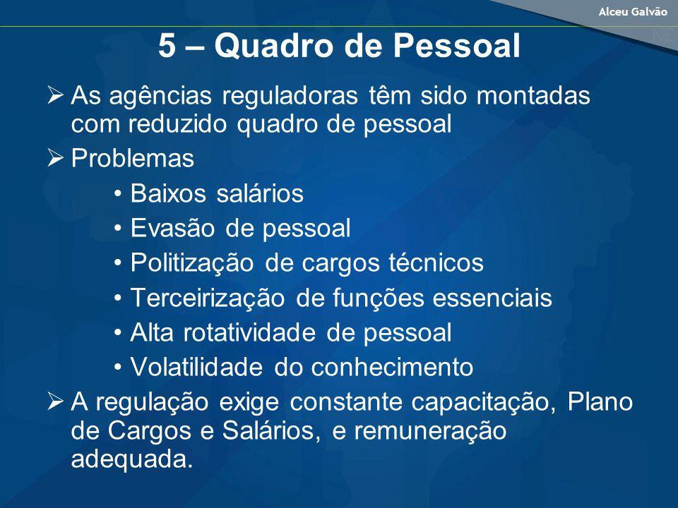 5 – Quadro de Pessoal As agências reguladoras têm sido montadas com reduzido quadro de pessoal. Problemas.