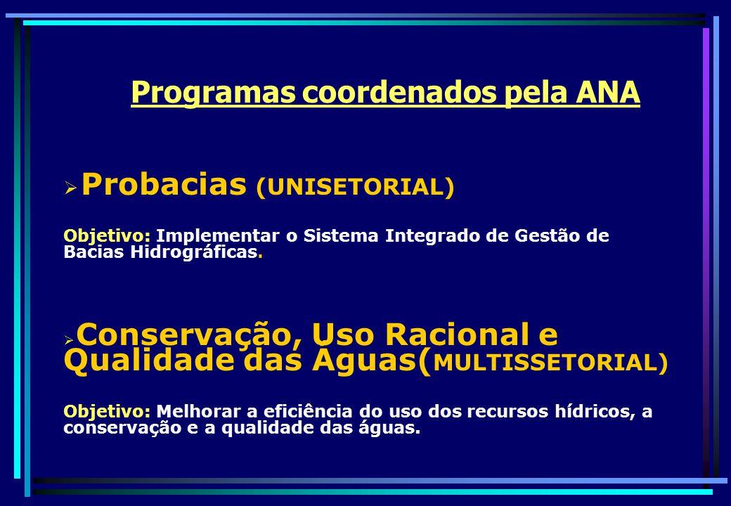 Programas coordenados pela ANA
