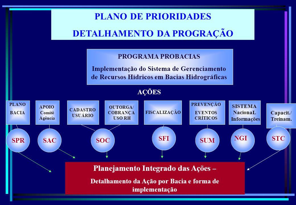 PLANO DE PRIORIDADES DETALHAMENTO DA PROGRAÇÃO