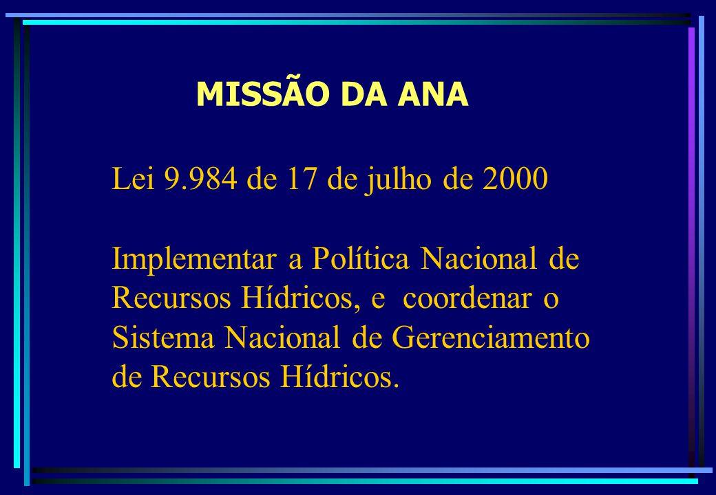 MISSÃO DA ANA Lei 9.984 de 17 de julho de 2000.