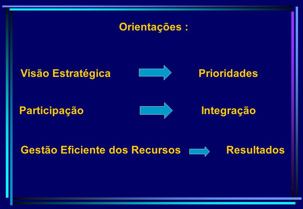 Orientações : Visão Estratégica Prioridades. Gestão Eficiente dos Recursos Resultados.