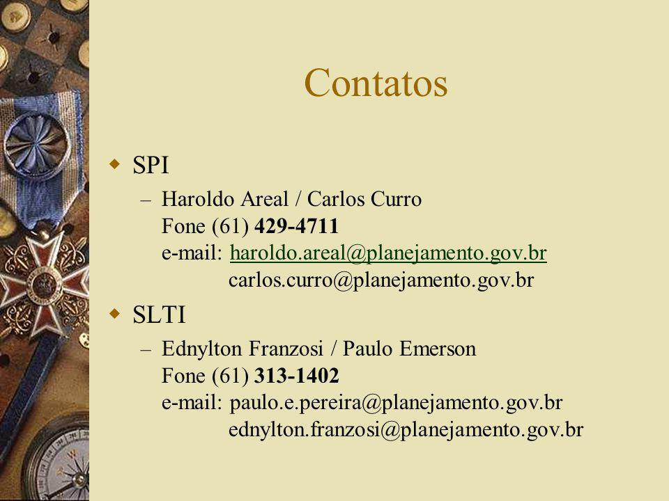Contatos SPI. Haroldo Areal / Carlos Curro Fone (61) 429-4711 e-mail: haroldo.areal@planejamento.gov.br carlos.curro@planejamento.gov.br.