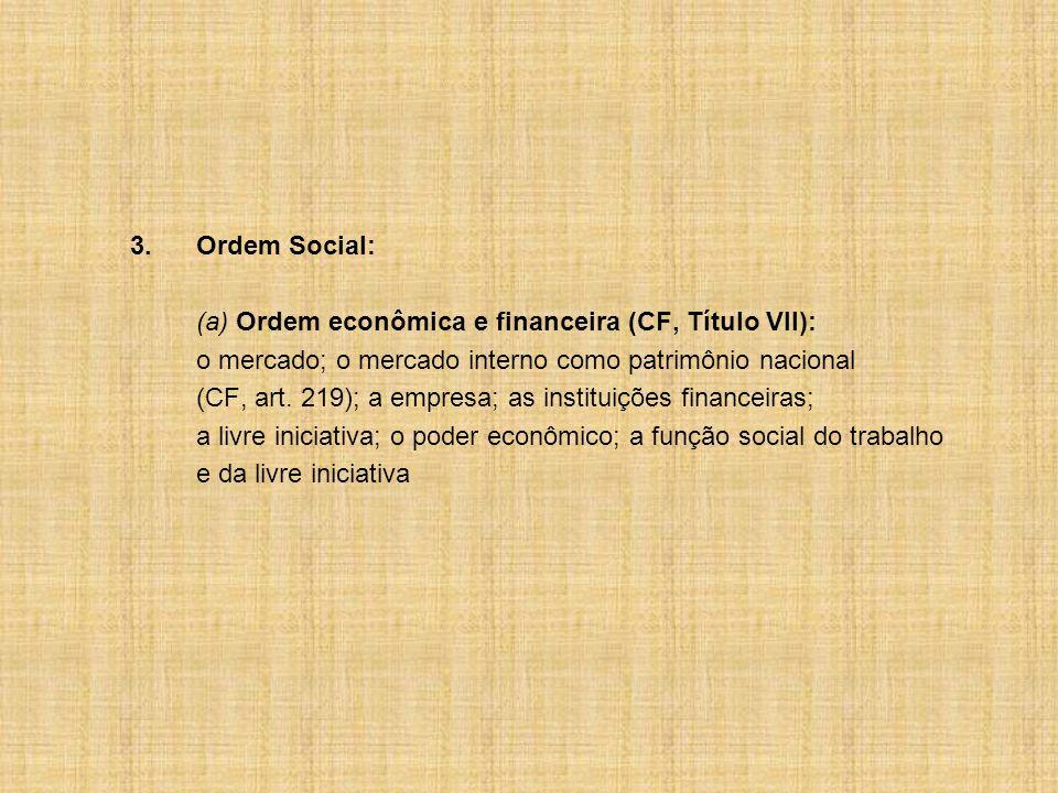 3. Ordem Social: (a) Ordem econômica e financeira (CF, Título VII): o mercado; o mercado interno como patrimônio nacional.