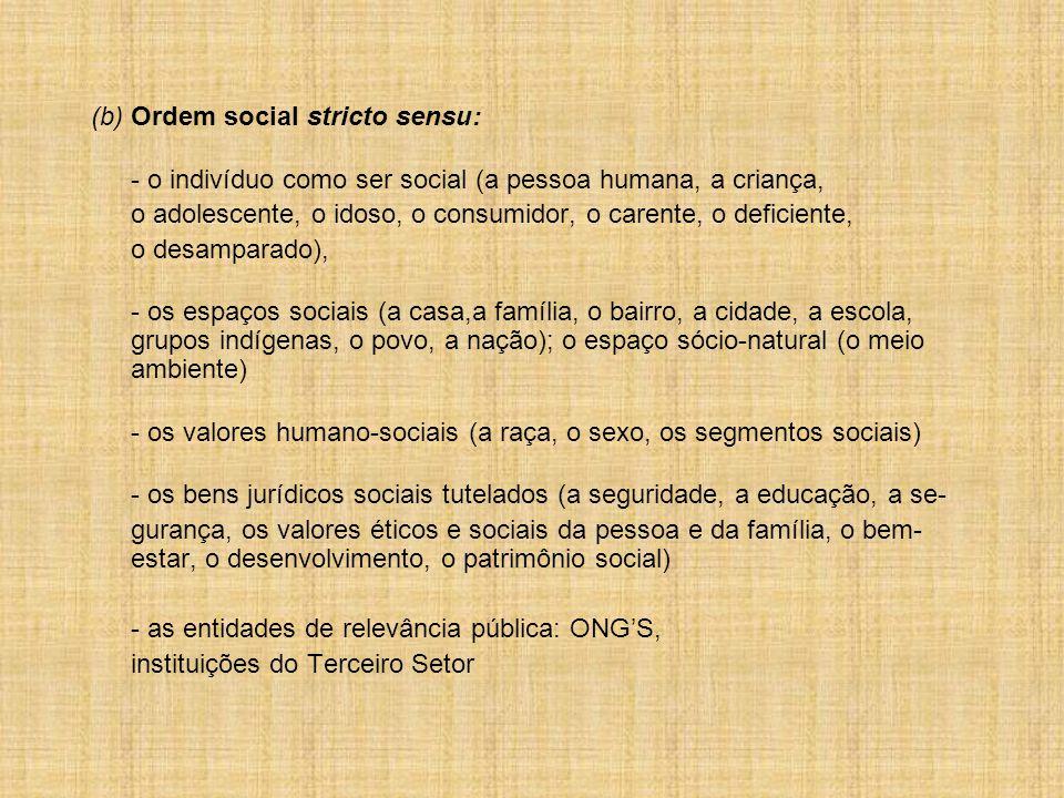 (b) Ordem social stricto sensu: