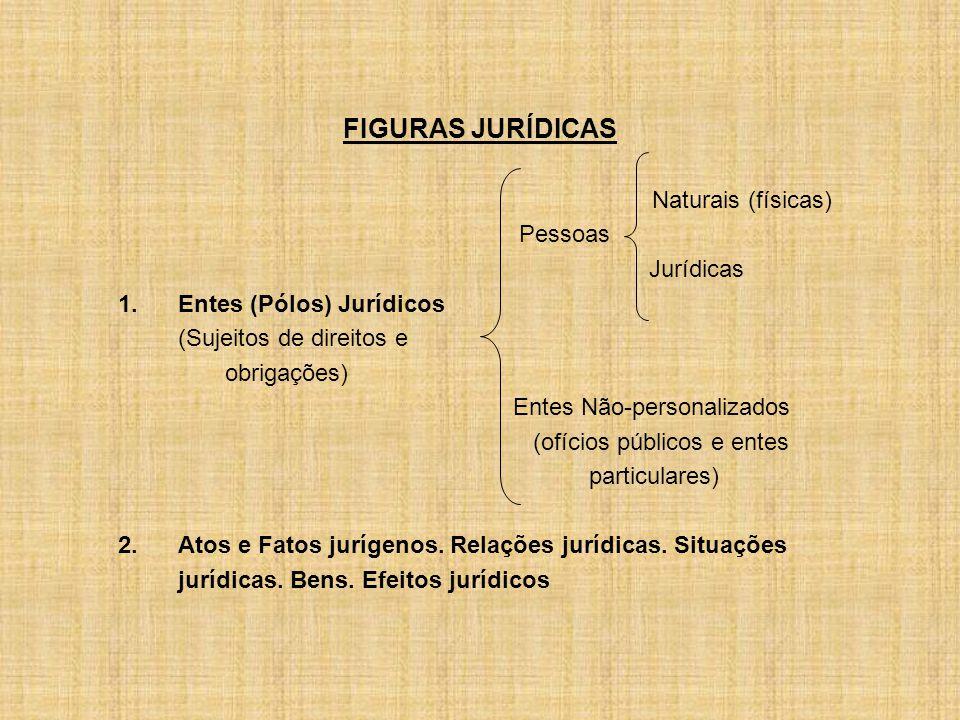 FIGURAS JURÍDICAS Naturais (físicas) Pessoas Jurídicas