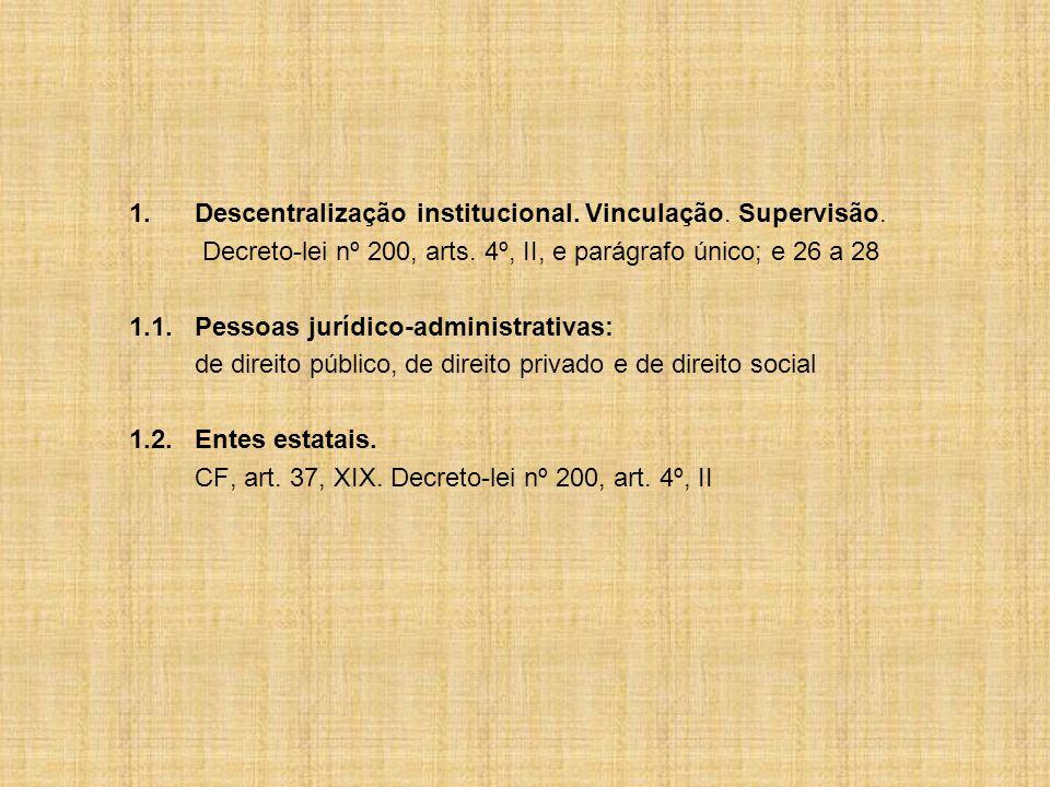 1. Descentralização institucional. Vinculação. Supervisão.