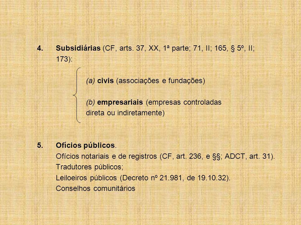 4. Subsidiárias (CF, arts. 37, XX, 1ª parte; 71, II; 165, § 5º, II;