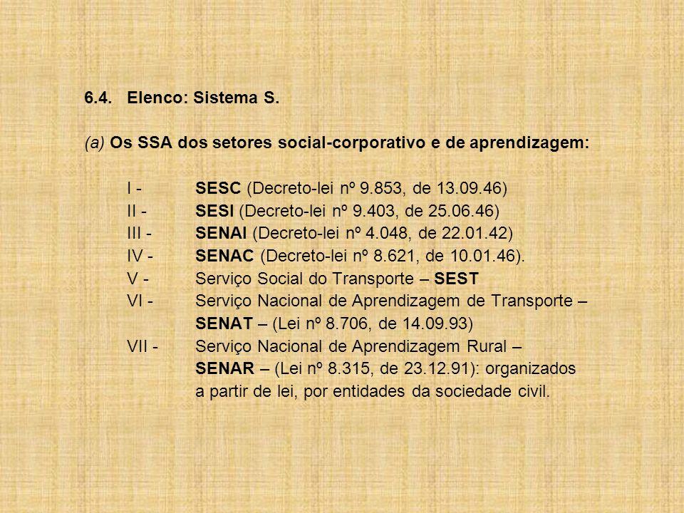 6.4. Elenco: Sistema S. (a) Os SSA dos setores social-corporativo e de aprendizagem: I - SESC (Decreto-lei nº 9.853, de 13.09.46)