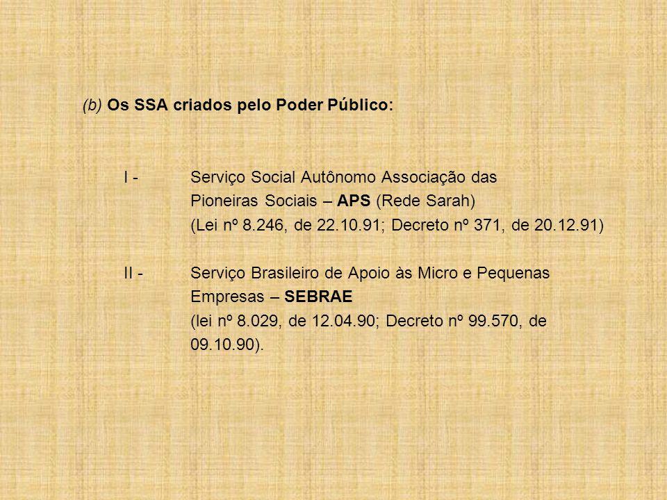 (b) Os SSA criados pelo Poder Público: