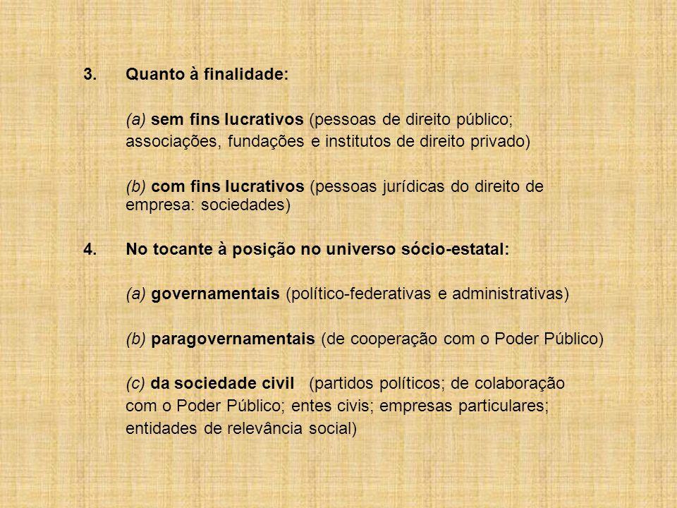 3. Quanto à finalidade: (a) sem fins lucrativos (pessoas de direito público; associações, fundações e institutos de direito privado)