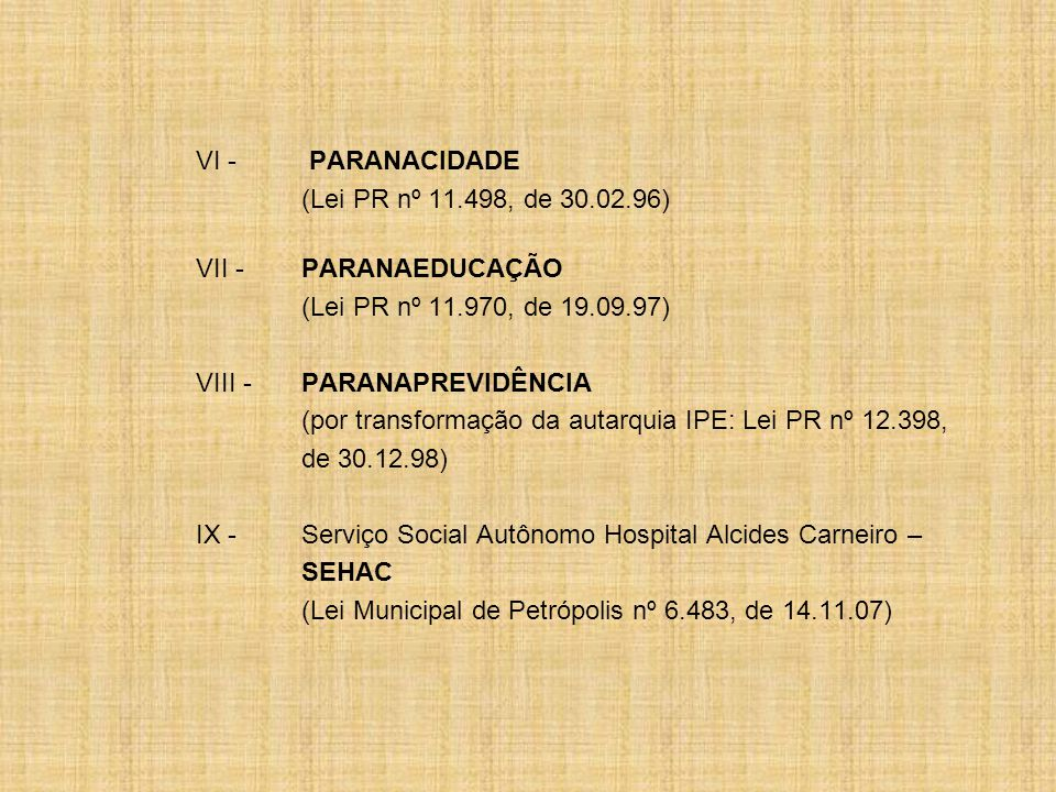 VI - PARANACIDADE (Lei PR nº 11.498, de 30.02.96) VII - PARANAEDUCAÇÃO. (Lei PR nº 11.970, de 19.09.97)