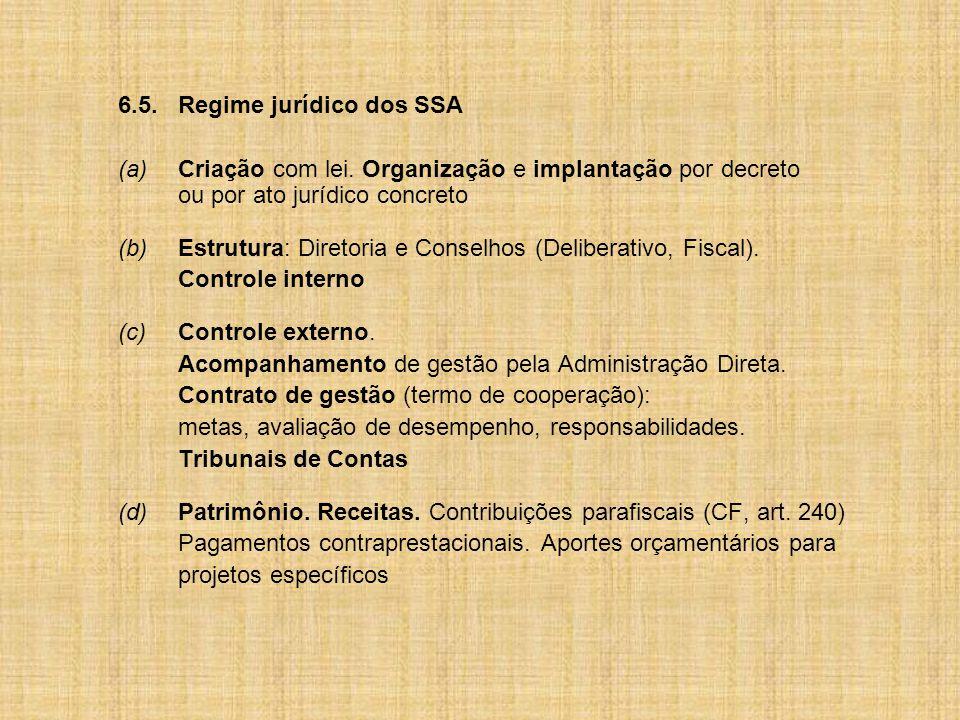 6.5. Regime jurídico dos SSA