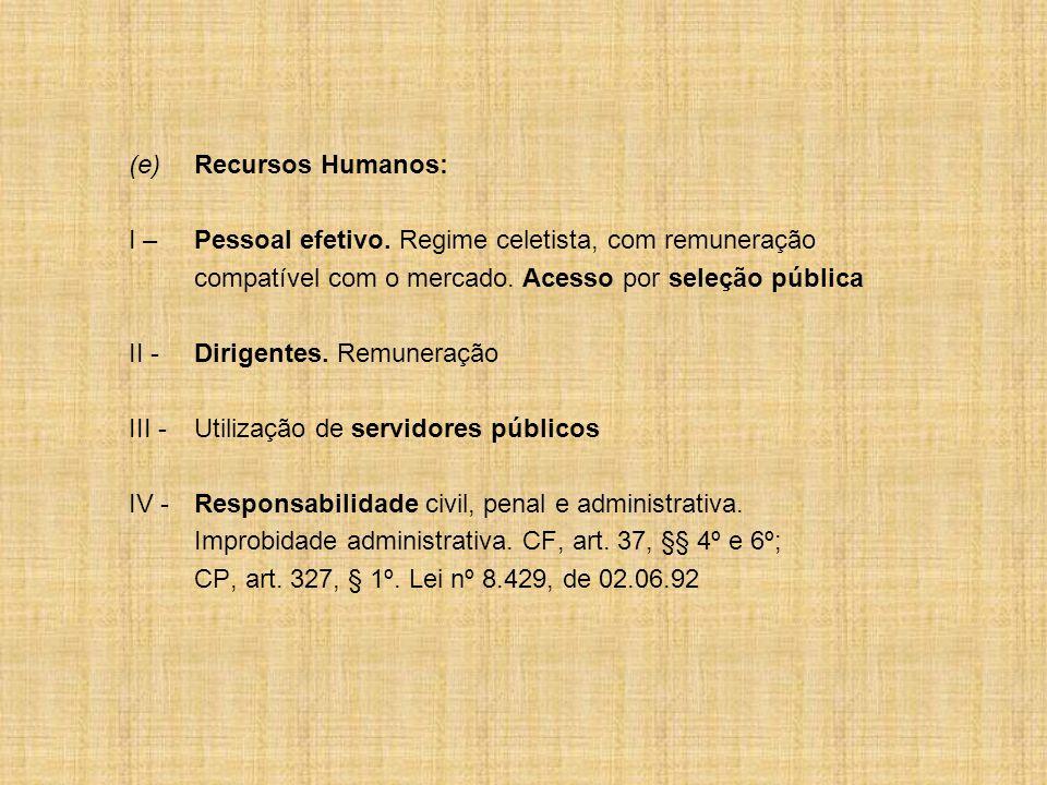 (e) Recursos Humanos: I – Pessoal efetivo. Regime celetista, com remuneração. compatível com o mercado. Acesso por seleção pública.