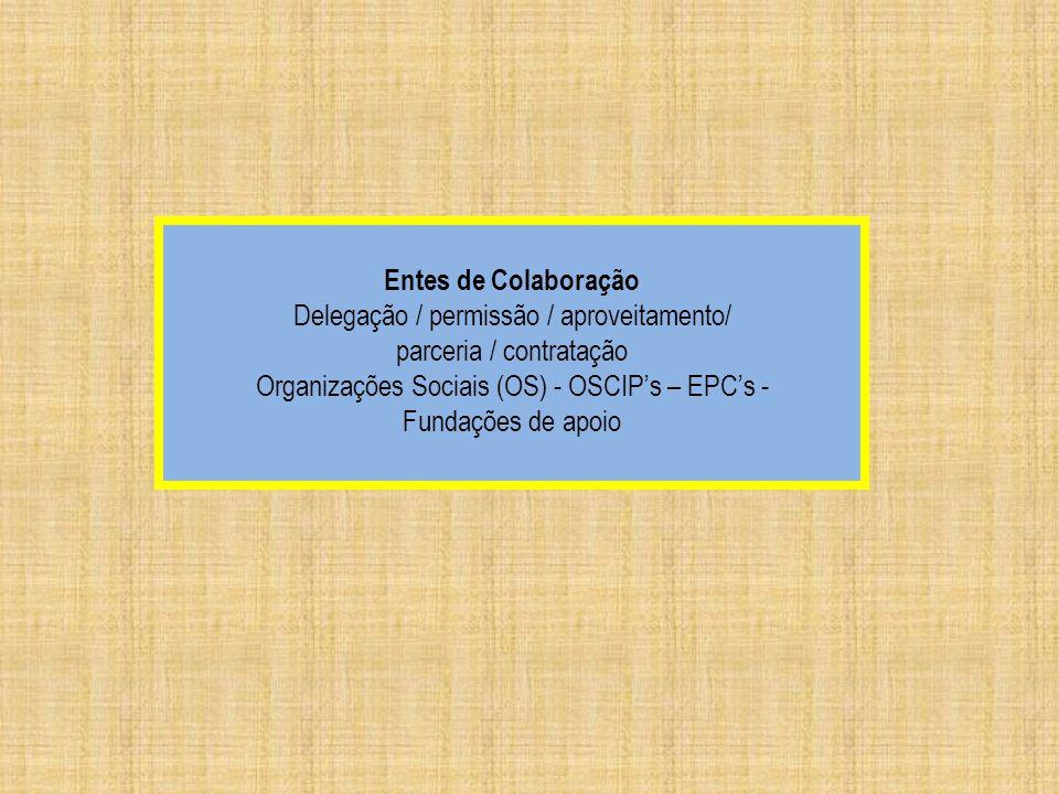 Delegação / permissão / aproveitamento/ parceria / contratação