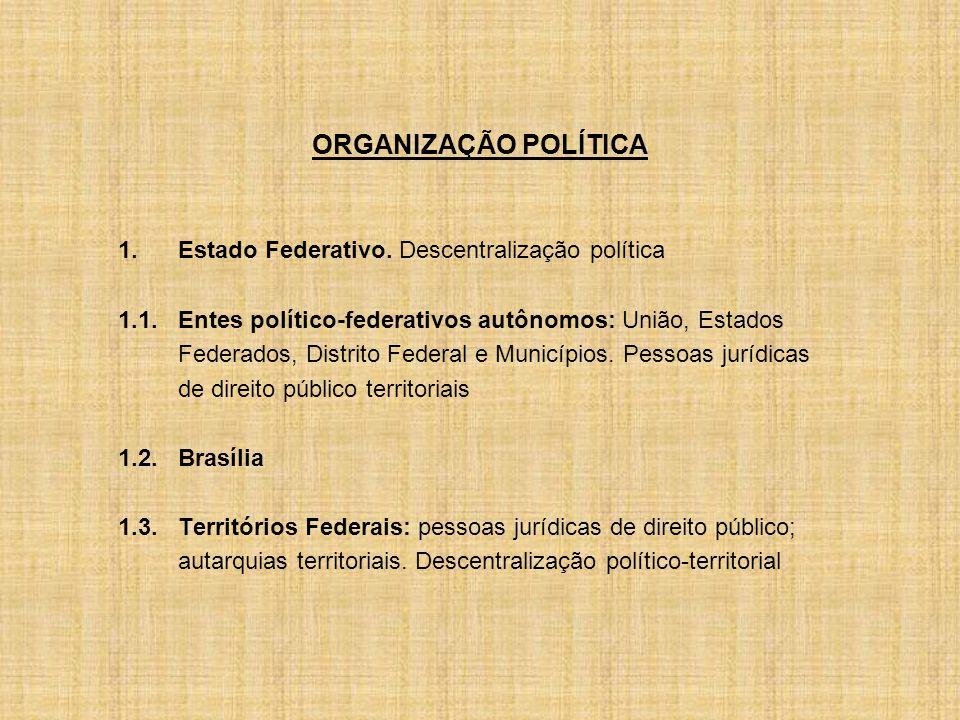 ORGANIZAÇÃO POLÍTICA 1. Estado Federativo. Descentralização política