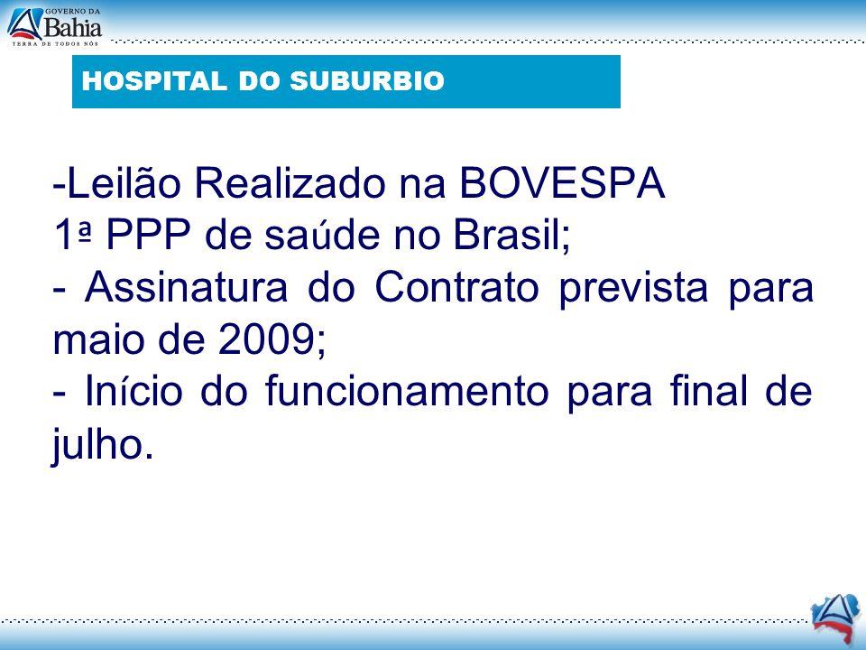 -Leilão Realizado na BOVESPA 1ª PPP de saúde no Brasil;