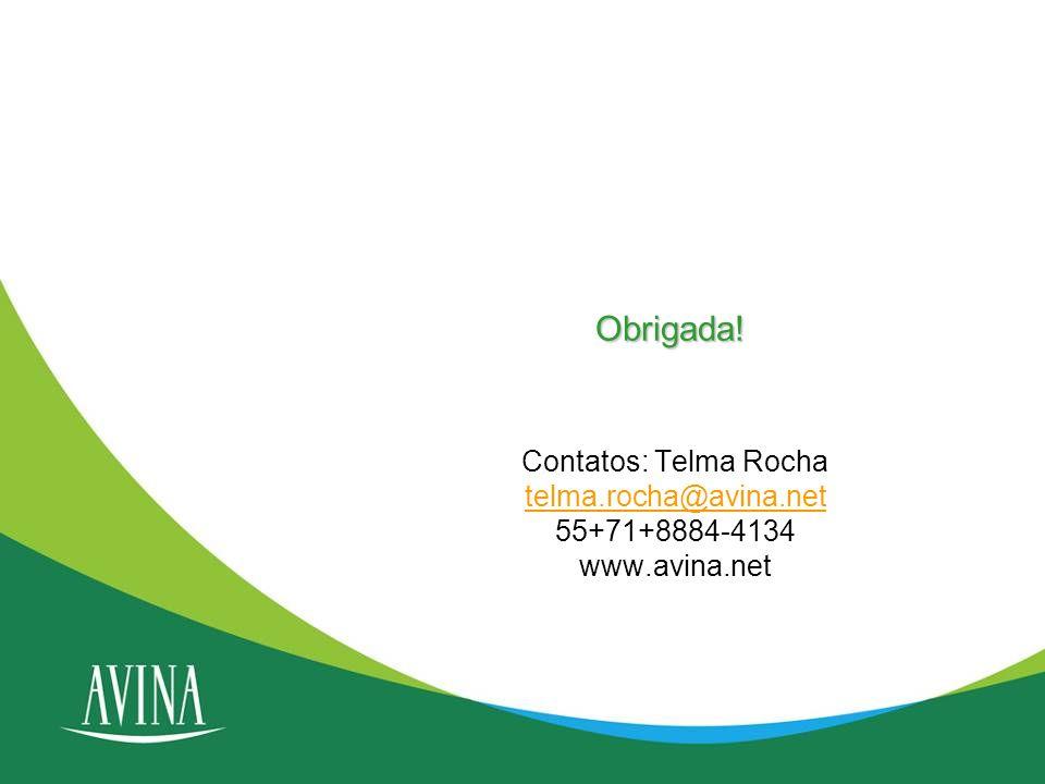 Obrigada! Contatos: Telma Rocha telma.rocha@avina.net 55+71+8884-4134