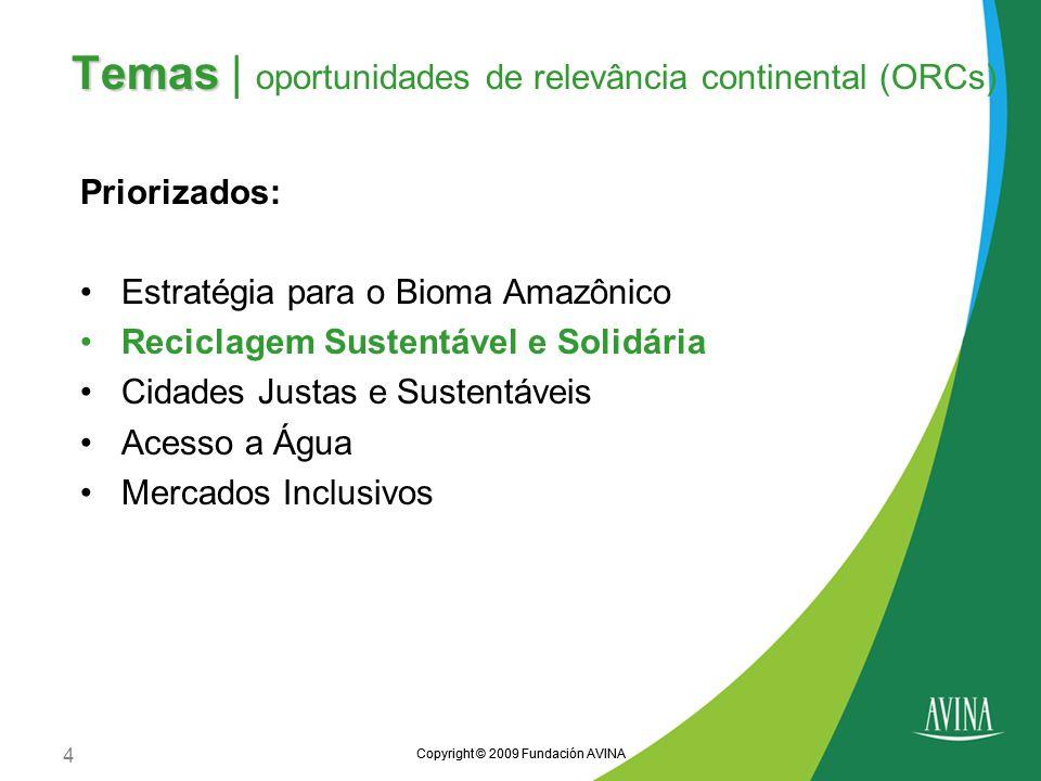Temas | oportunidades de relevância continental (ORCs)