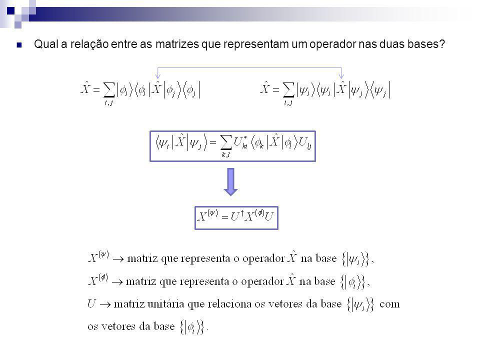 Qual a relação entre as matrizes que representam um operador nas duas bases