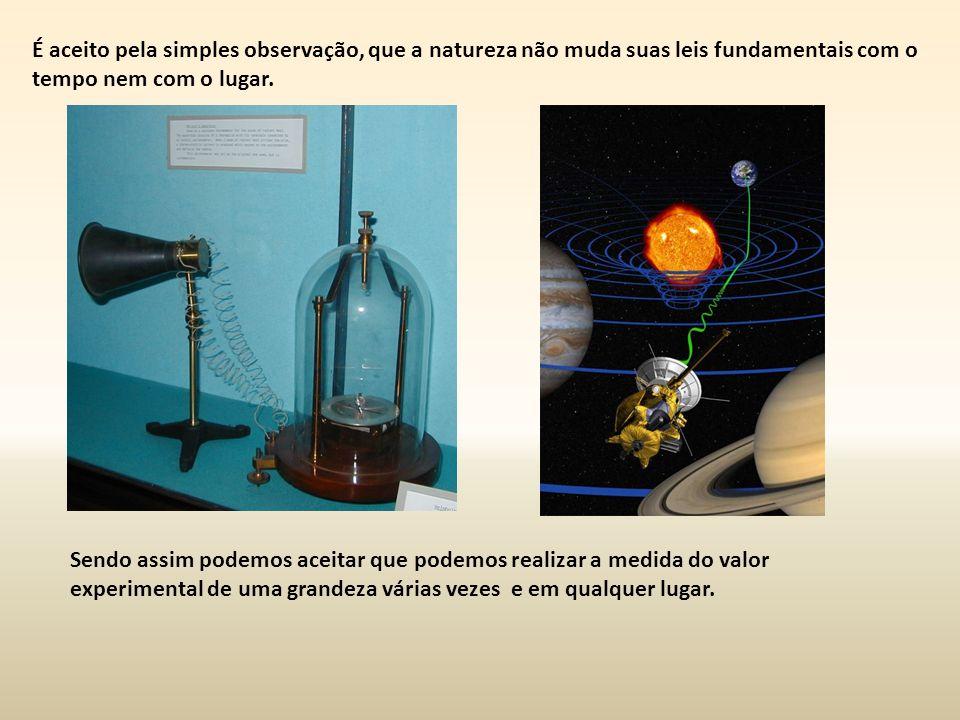 É aceito pela simples observação, que a natureza não muda suas leis fundamentais com o tempo nem com o lugar.
