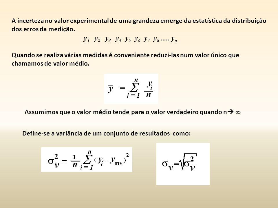 A incerteza no valor experimental de uma grandeza emerge da estatística da distribuição dos erros da medição.