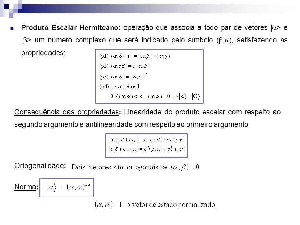 Produto Escalar Hermiteano: operação que associa a todo par de vetores |a> e |b> um número complexo que será indicado pelo símbolo (b,a), satisfazendo as propriedades: