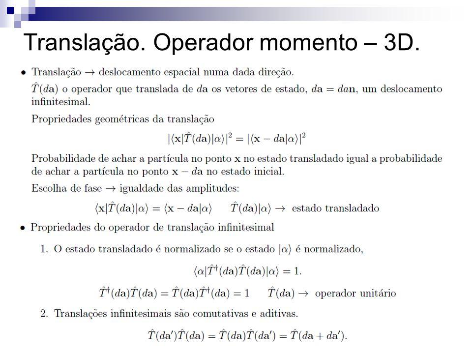 Translação. Operador momento – 3D.