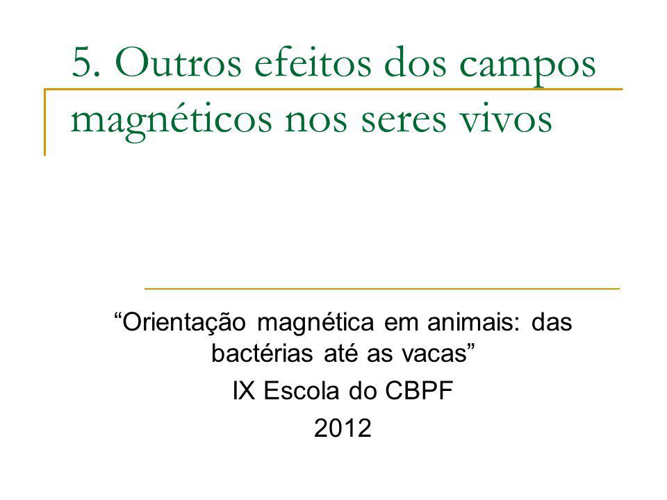 5. Outros efeitos dos campos magnéticos nos seres vivos