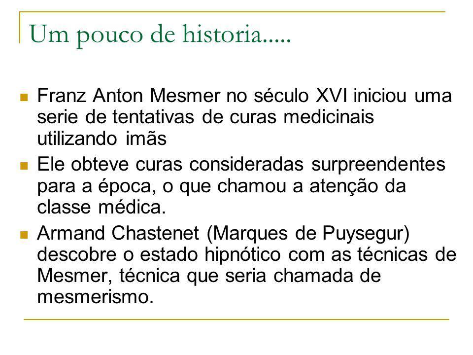 Um pouco de historia..... Franz Anton Mesmer no século XVI iniciou uma serie de tentativas de curas medicinais utilizando imãs.
