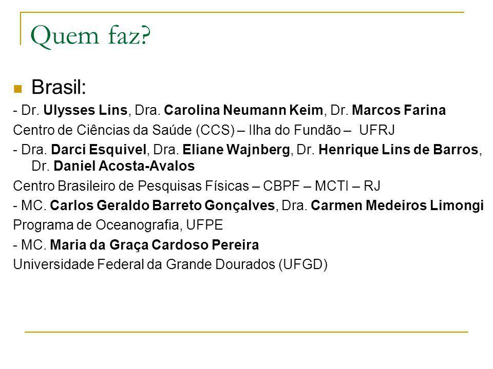 Quem faz Brasil: - Dr. Ulysses Lins, Dra. Carolina Neumann Keim, Dr. Marcos Farina. Centro de Ciências da Saúde (CCS) – Ilha do Fundão – UFRJ.