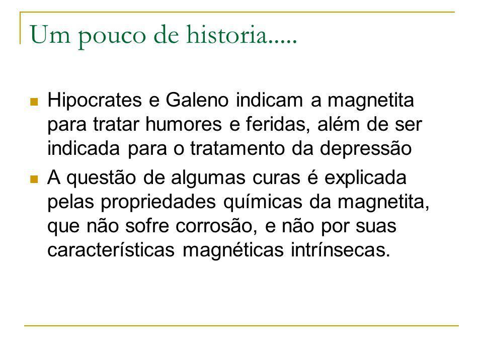 Um pouco de historia..... Hipocrates e Galeno indicam a magnetita para tratar humores e feridas, além de ser indicada para o tratamento da depressão.