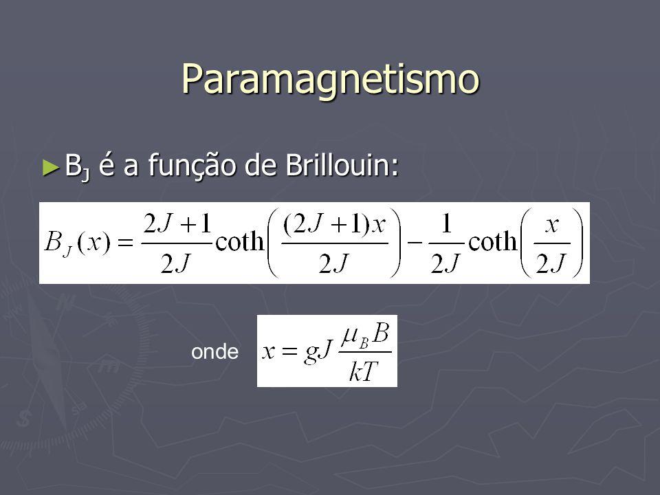 Paramagnetismo BJ é a função de Brillouin: onde