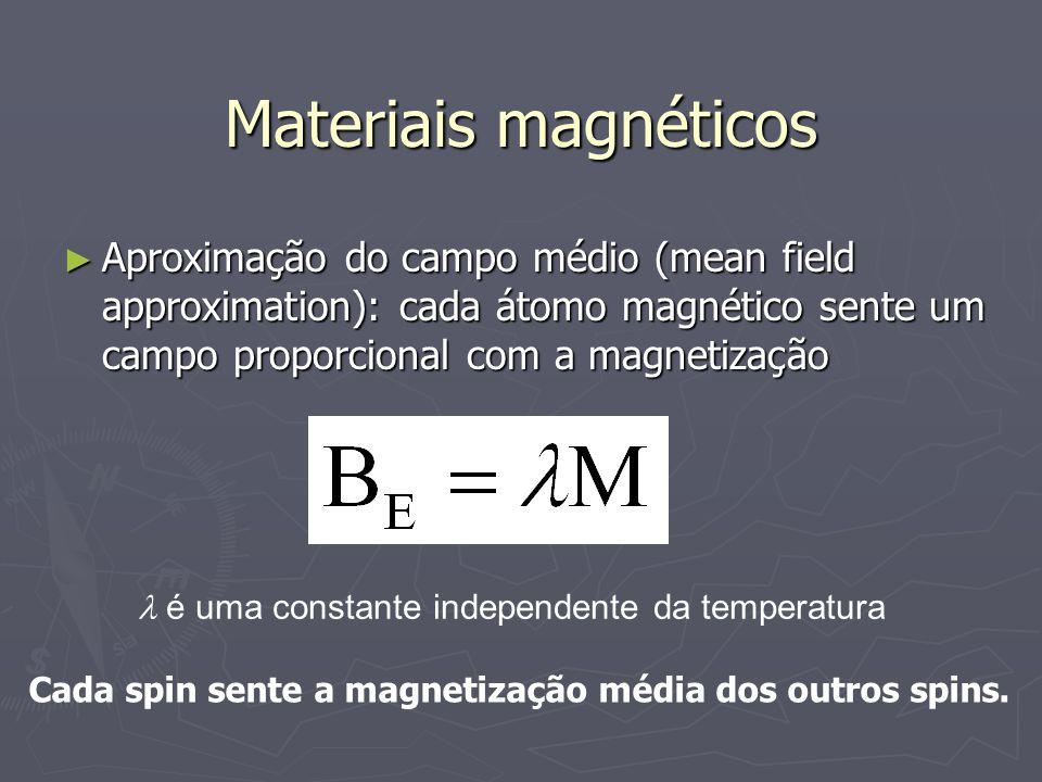 Materiais magnéticos Aproximação do campo médio (mean field approximation): cada átomo magnético sente um campo proporcional com a magnetização.