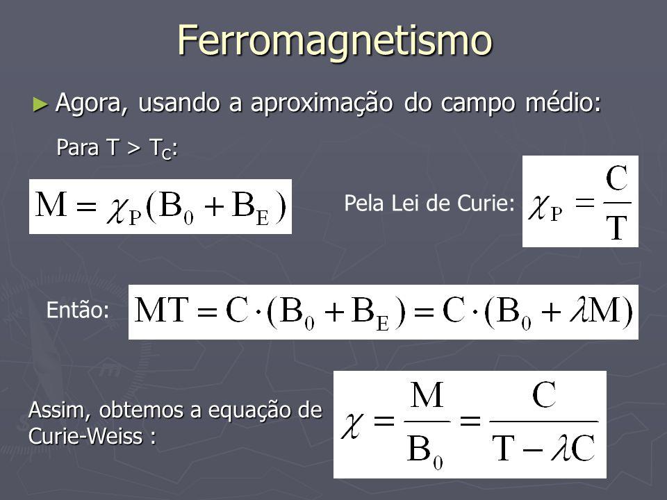 Ferromagnetismo Agora, usando a aproximação do campo médio: