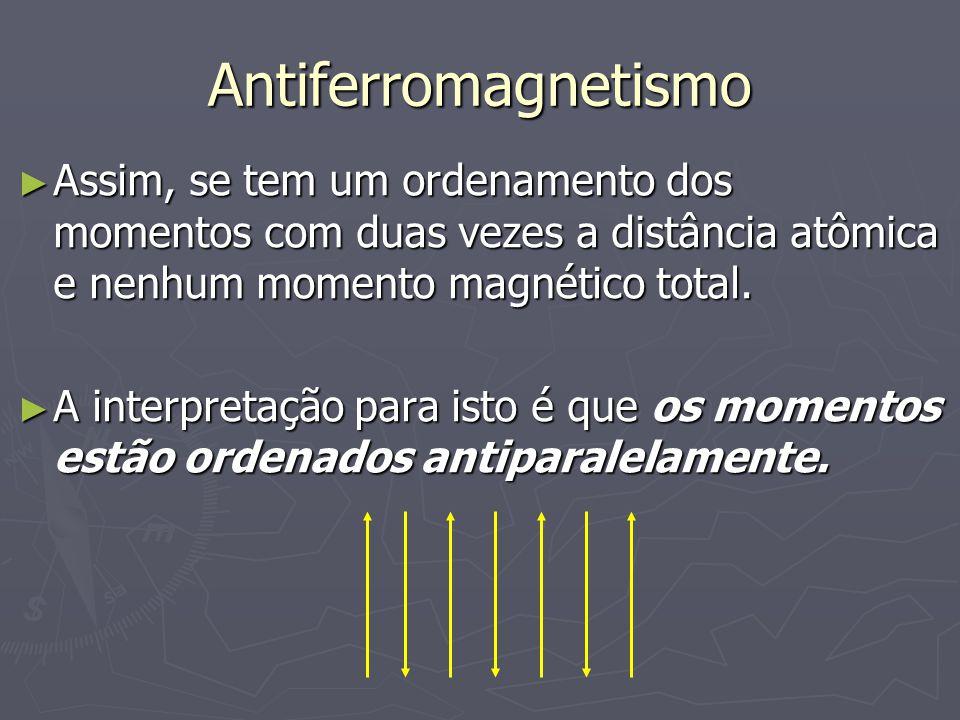 Antiferromagnetismo Assim, se tem um ordenamento dos momentos com duas vezes a distância atômica e nenhum momento magnético total.