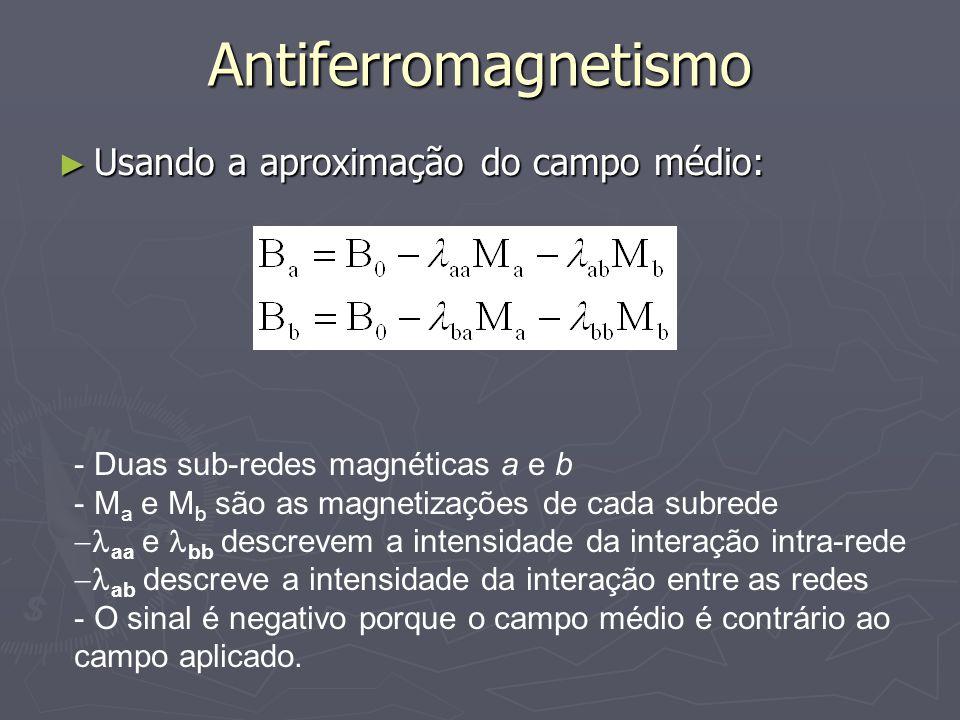 Antiferromagnetismo Usando a aproximação do campo médio:
