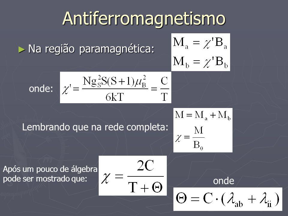 Antiferromagnetismo Na região paramagnética: onde: