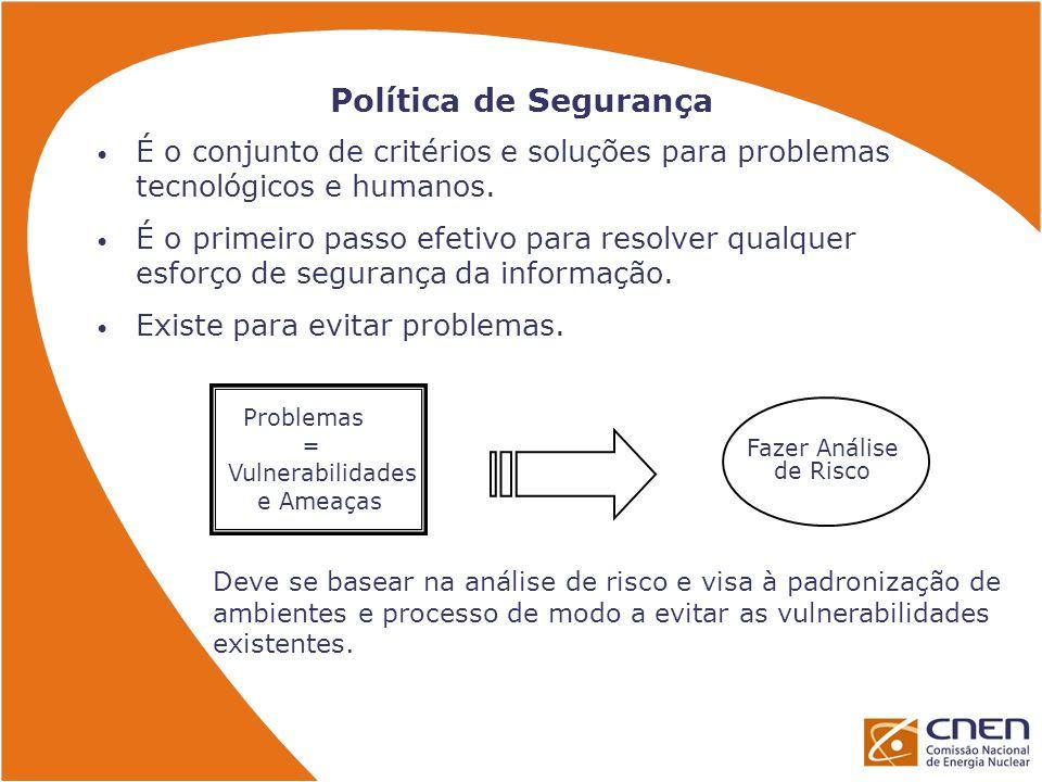 Política de Segurança É o conjunto de critérios e soluções para problemas tecnológicos e humanos.