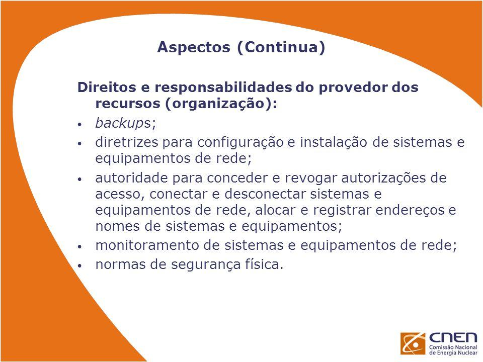 Aspectos (Continua) Direitos e responsabilidades do provedor dos recursos (organização): backups;