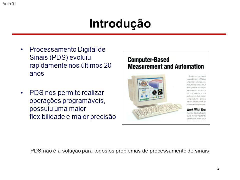 Aula 01 Introdução. Processamento Digital de Sinais (PDS) evoluiu rapidamente nos últimos 20 anos.