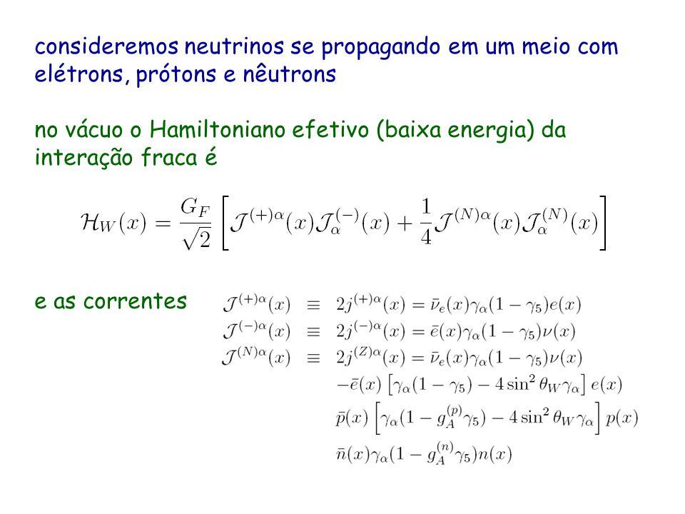 consideremos neutrinos se propagando em um meio com elétrons, prótons e nêutrons