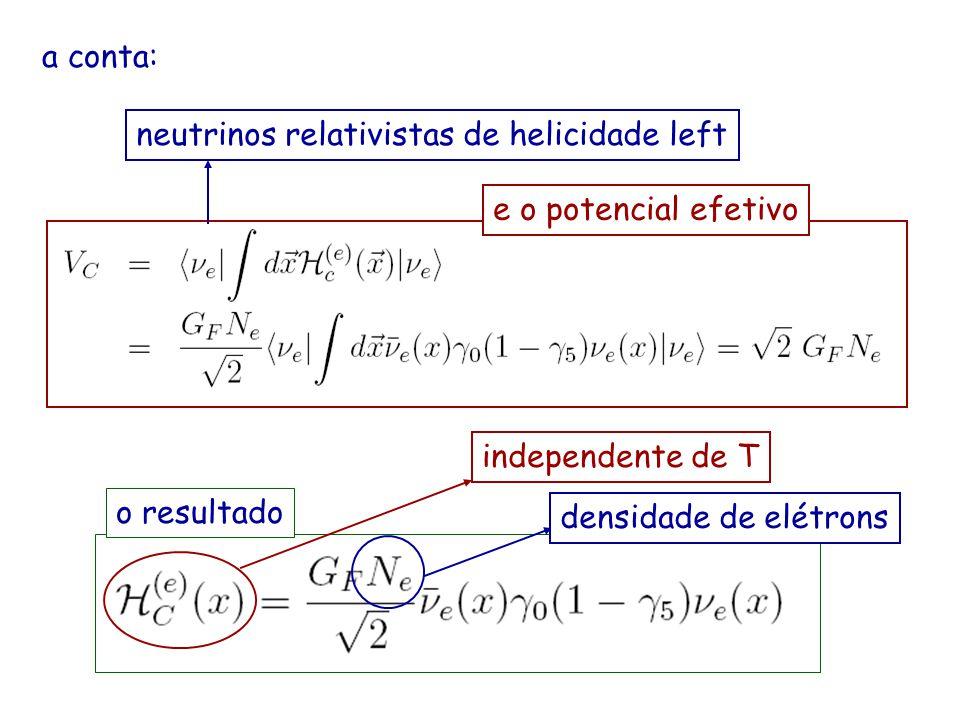 a conta: e o potencial efetivo. elemento de matriz do elétron. neutrinos relativistas de helicidade left.