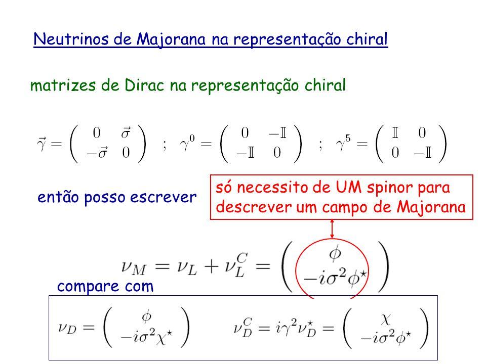 Neutrinos de Majorana na representação chiral
