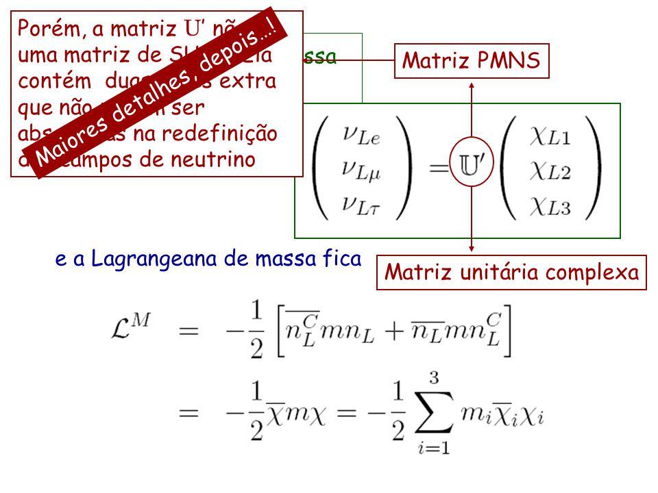 Porém, a matriz U' não é uma matriz de SU(3)